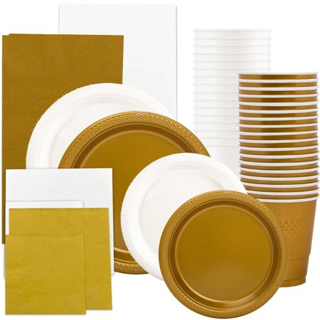 Graduation Plates And Napkins (JAM Paper Party Supply Assortment, White & Gold Grad Pack, Plates (2 Sizes), Napkins (2 Sizes), Cups & Tablecloths,)