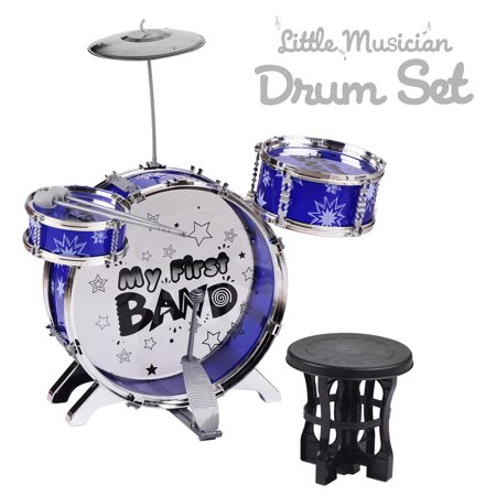 Kids Children Beginners Jazz Drums Set 3 Pieces Drums with Cymbal Drumsticks Adjustable Stool Single Beater Percussion Musical Instrument Toy Playset for Children Christmas Birthday Gifts Blue ()
