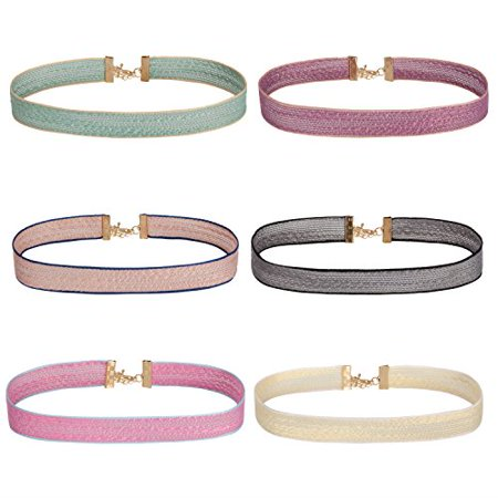 BodyJ4You Choker Necklace Pastel Colors Ribbon Adjustable Collar Women 6 (Pastel Color Necklace)
