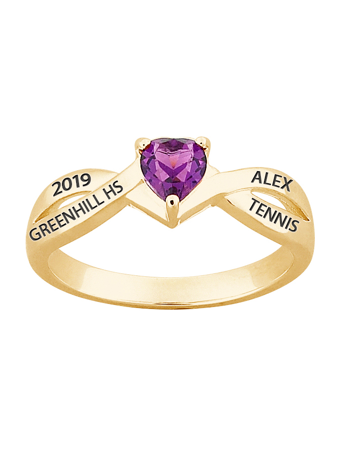 Personalized Girl's 18kt Gold Plated Sterling Silver Heart Birthstone Class Ring