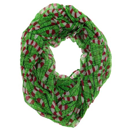 Happy Holidays Christmas Theme Women's Gauze Infinity Scarf (Candy Canes)](Holiday Scarf)
