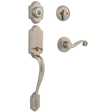 Kwikset Arlington Single Cylinder Handleset w/Lido Lever featuring SmartKey® in Satin (Brushed Nickel Handlesets Single Cylinder)
