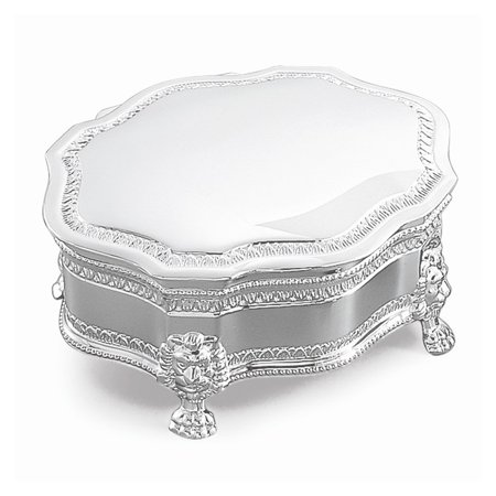 Silver and Nickel-plated Victorian Footed Jewelry Box - Engravable Gift Item