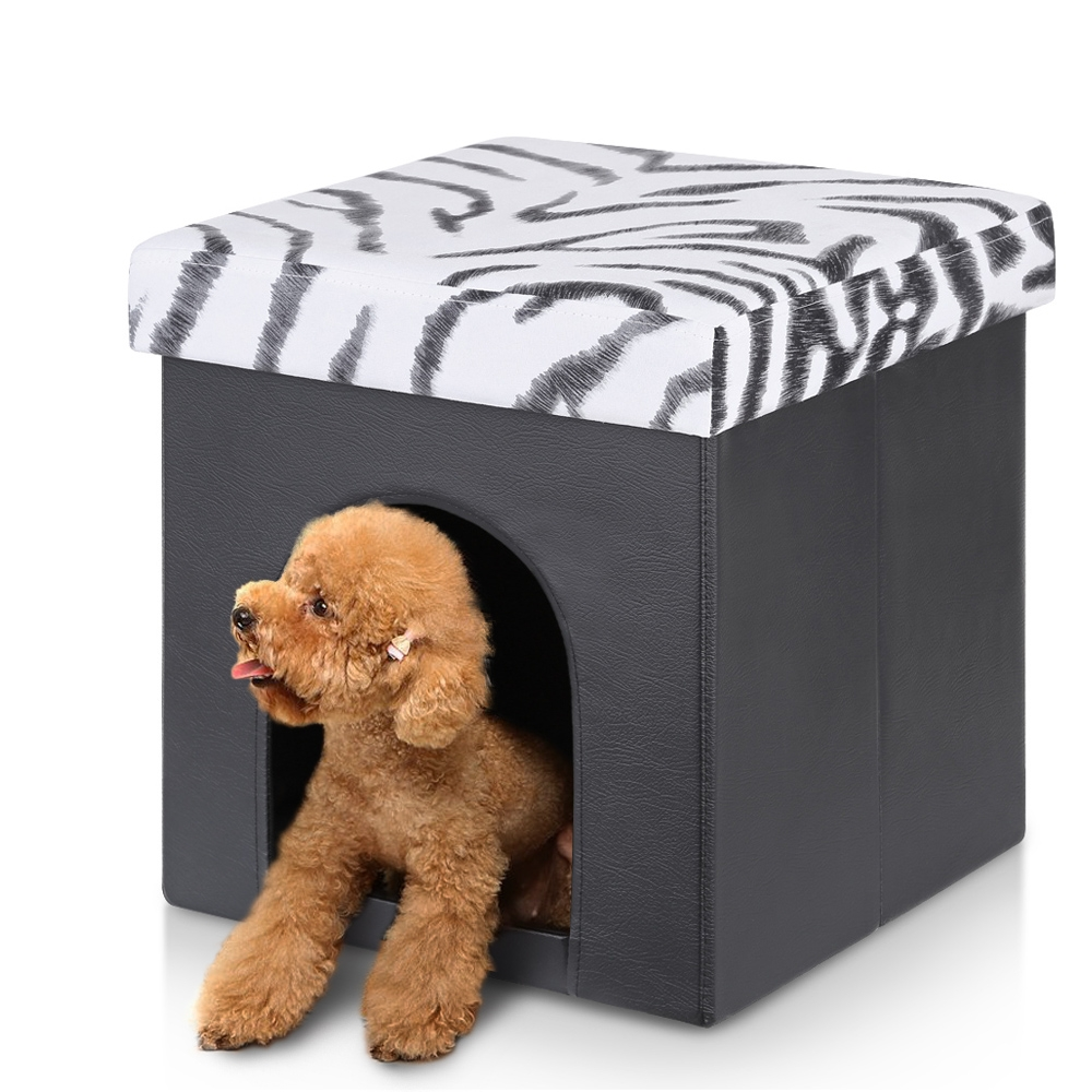 iKayaa Foldable Faux Leather Storage Ottoman Hideaway Pet Bed House Storage Box Foot Stool Seat