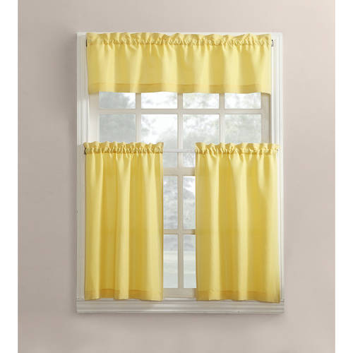 Mainstays Solid 3-Piece Kitchen Curtain Tier and Valance Set by S. Lichtenberg & Co.