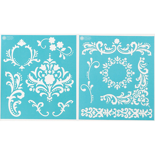 "Martha Stewart Medium Stencils 2 Sheets/pkg, Flourish 8-3/4""x9-3/4"", 12 Designs"
