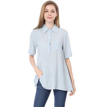 Casual Half Sleeve - Women's Short Sleeve 1/2 Placket Casual Tunic Shirt