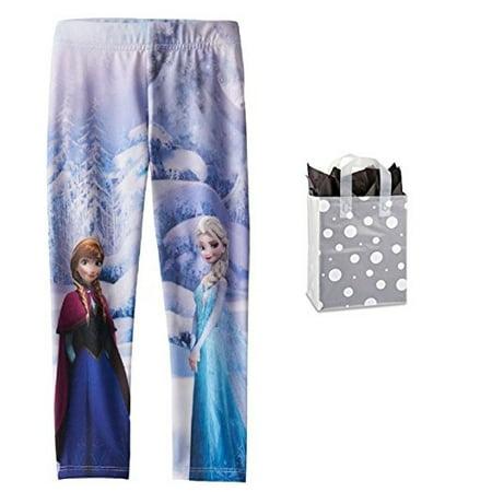 Disney Frozen Little Girls' Elsa & Anna Fleece Lined Leggings & Bag Multi-Pack (Anna From Frozen As A Little Girl)