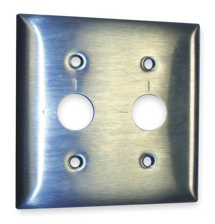 Barrell Key Wall Plate,2 Gang,Silver HUBBELL WIRING DEVICE-KELLEMS SS22RKLM