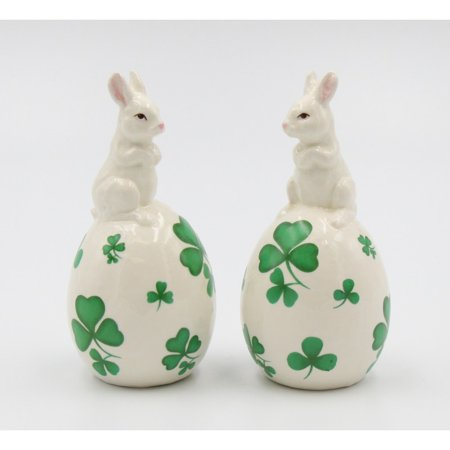 Shamrock Bunny Salt and Pepper Shakers