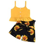 Canis Baby Girls Clothes Crop Tops Sunflower Shorts Pants Outfits
