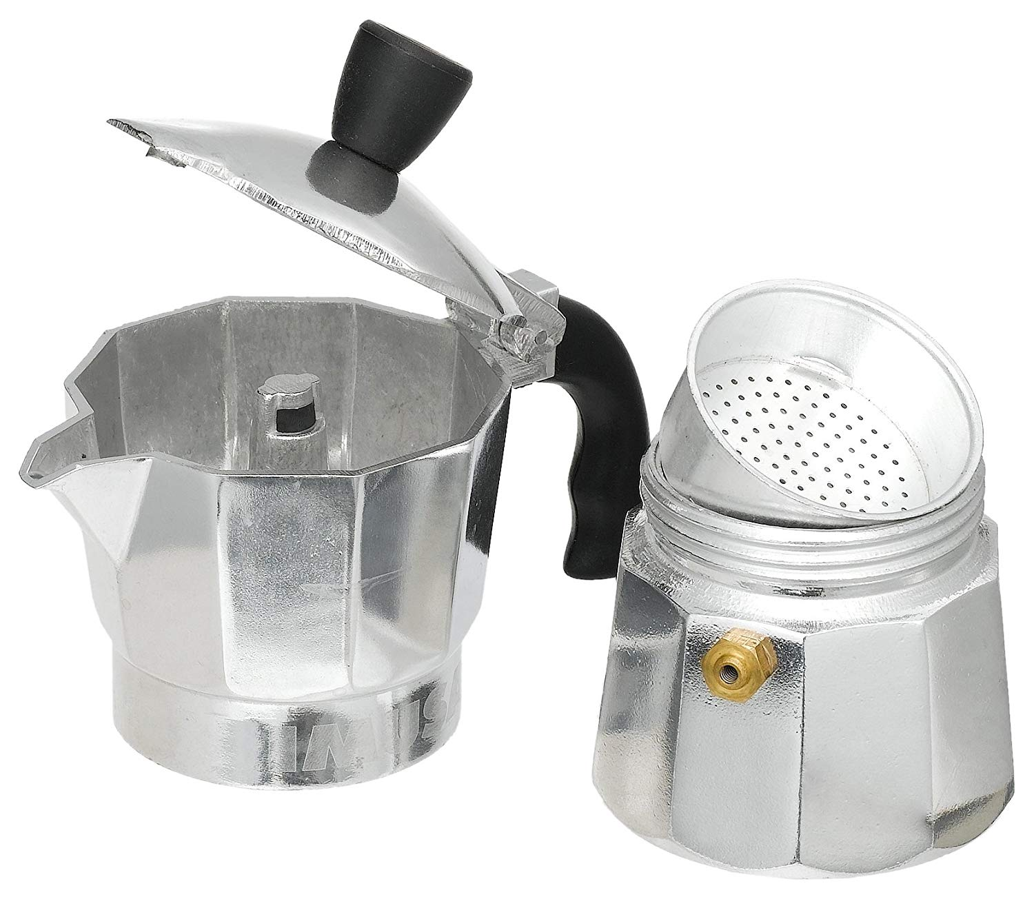 Imusa Cuban Espresso Coffee Maker 6-cup Bundle with a Set of White Espresso Cups 3.5 Ounces and Metal Rack Famous Clubs