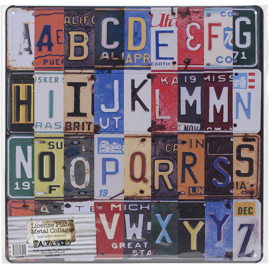 Salvaged Licenses Plate Metal Collage