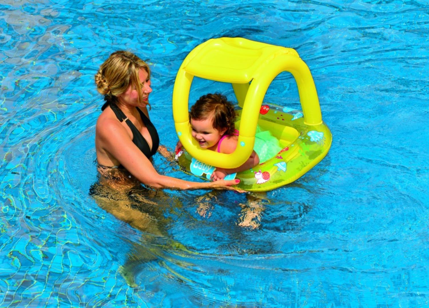 Inflatable Baby Swimming Pool Float With Sunshade Yellow