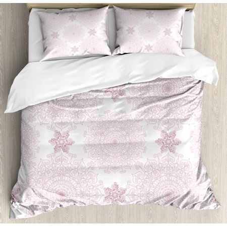 Purple Mandala Duvet Cover Set, Victorian Damask Style Vintage Ethnic Pattern with Rococo Effect Print, Decorative Bedding Set with Pillow Shams, Pale Pink White, by Ambesonne ()