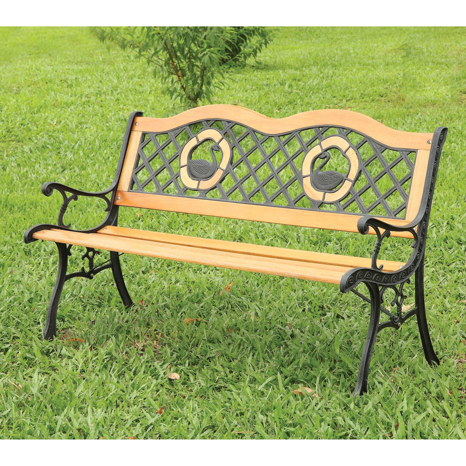 Hathers Natural Oak Double Swan Outdoor 4 ft. Metal Bench