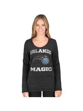 Orlando Magic 5th & Ocean by New Era Women's Tri-Blend Long Sleeve Glitter Logo Scoop Neck T-Shirt - Black