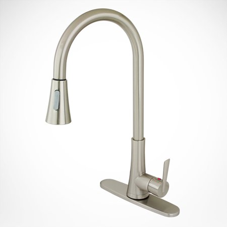 - NEW Euro Contemporary Kitchen Sink Faucet w/ Deck Plate Cover Brushed Nickel