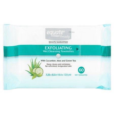 Equate Beauty Exfoliating Wet Cleansing Towelettes, 60 Ct, 2 Pk