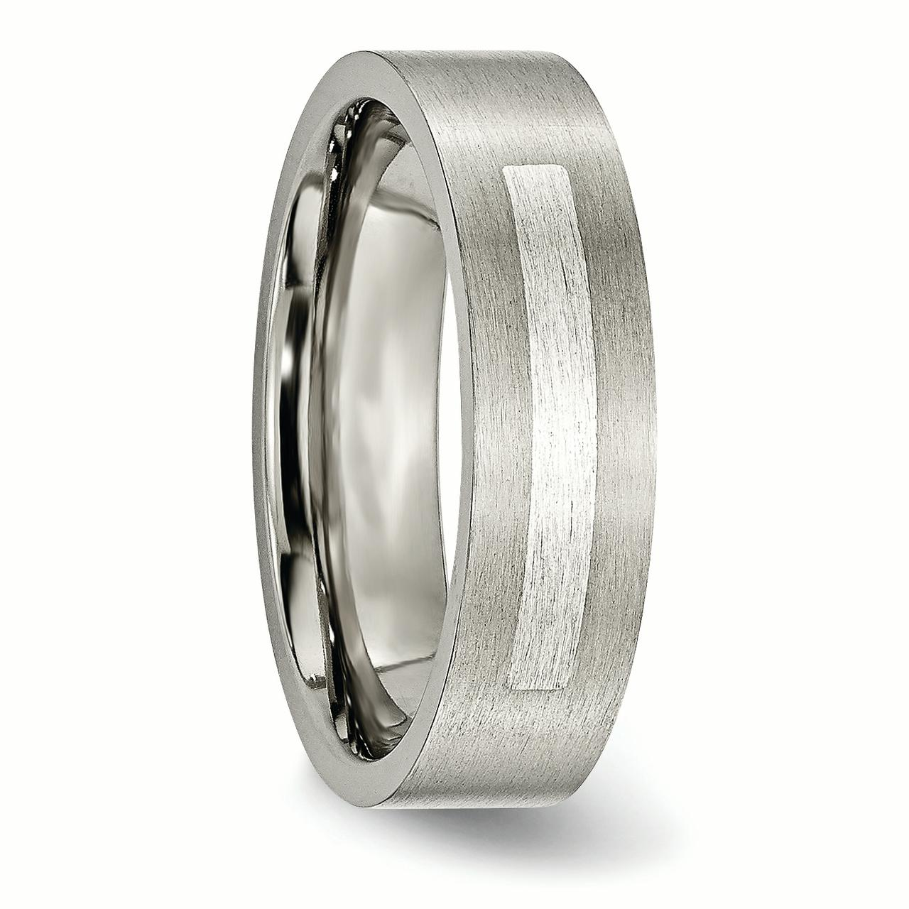 Titanium Flat 6mm 925 Sterling Silver Inlay Brushed Wedding Ring Band Size 12.50 Precious Metal Fine Jewelry Gifts For Women For Her - image 5 of 7