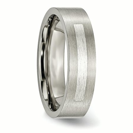 Titanium Flat 6mm 925 Sterling Silver Inlay Brushed Wedding Ring Band Size 10.50 Precious Metal Fine Jewelry For Women Gifts For Her - image 8 of 11