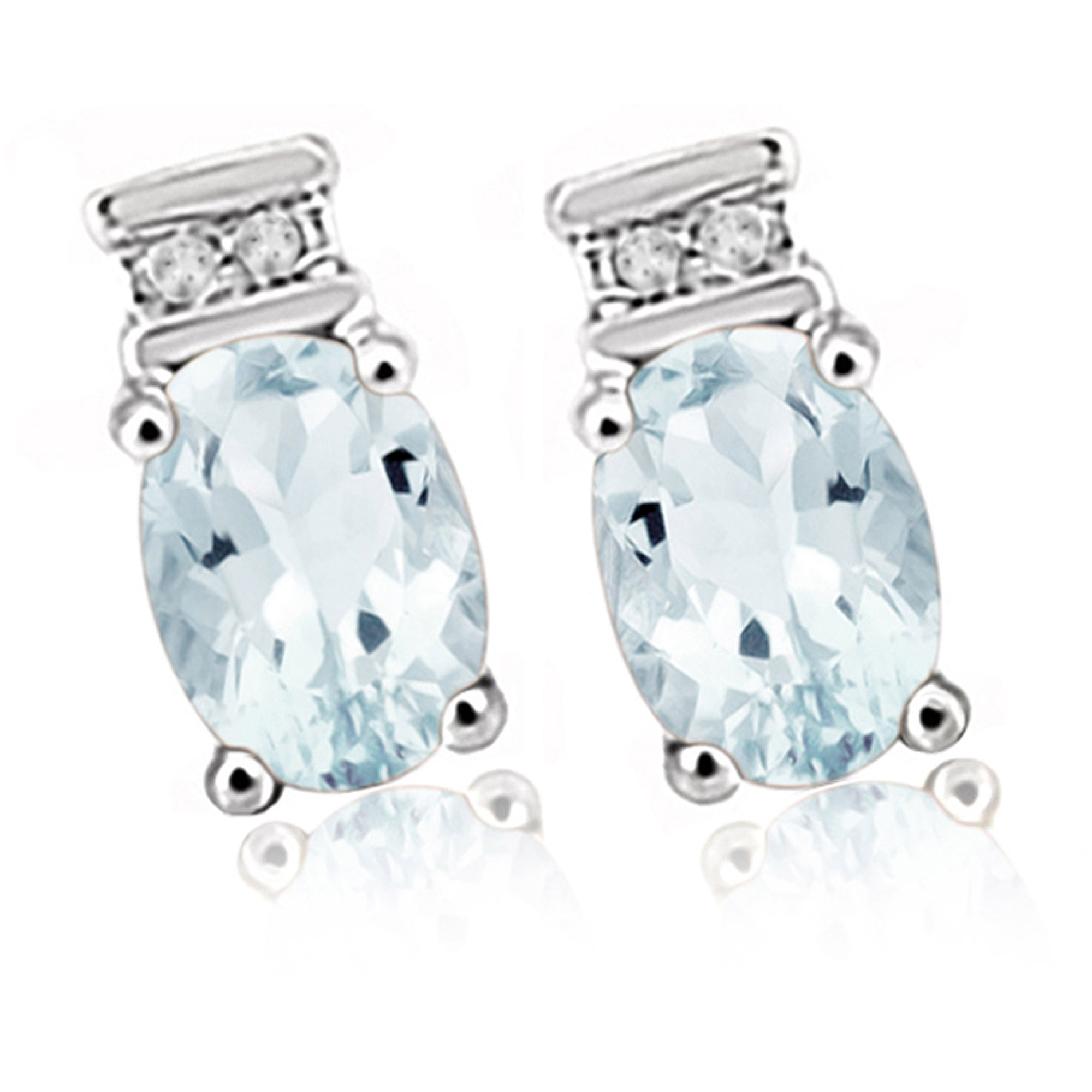 JewelersClub 0.88 Carat Aquamarine Gemstone and 1/20 Carat White Diamond Women's Sterling Silver Earrings