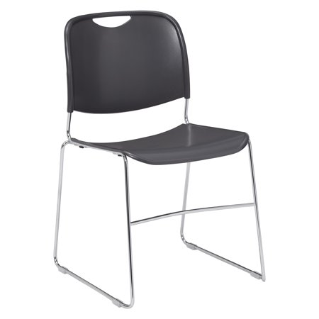 NPS® 8500 Series Ultra-Compact Plastic Stack Chair With Solid Rod Frame, Gunmetal