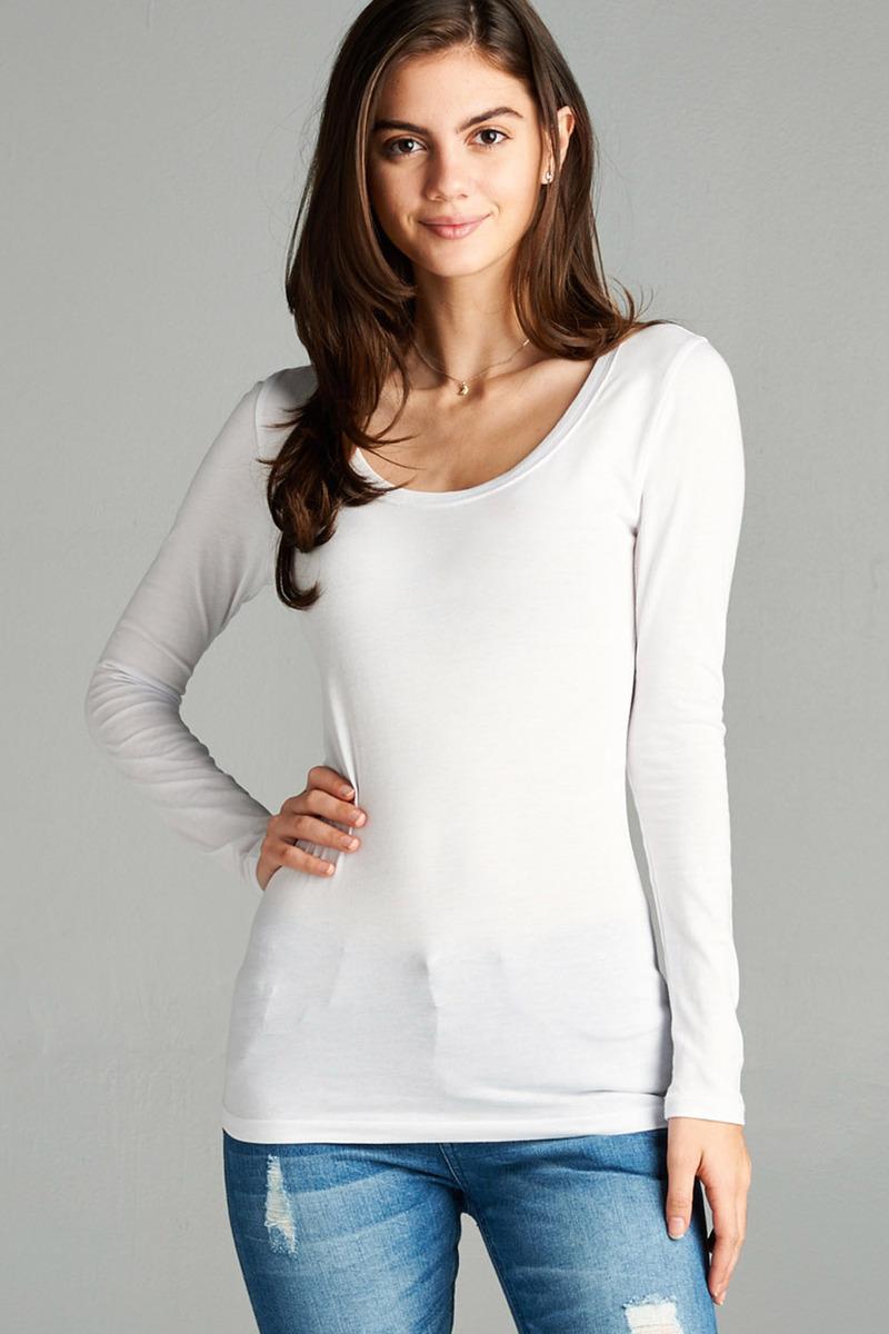 Women & Juniors Basic Long Sleeve Round Neck Tee Shirt Top