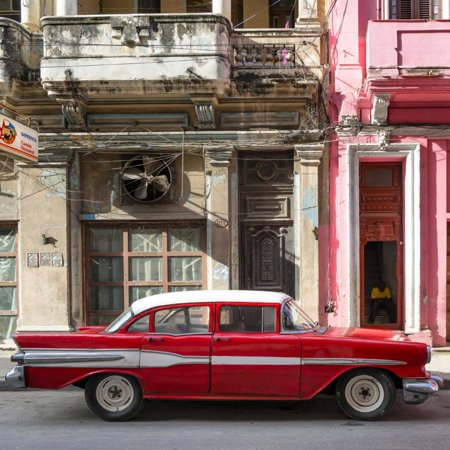 Cuba Fuerte Collection SQ - Old Red Car in Havana Print Wall Art By Philippe Hugonnard