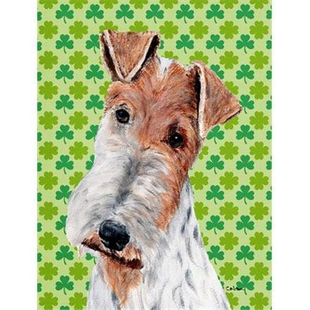 Wire Fox Terrier Lucky Shamrock St. Patricks Day Flag Garden Size