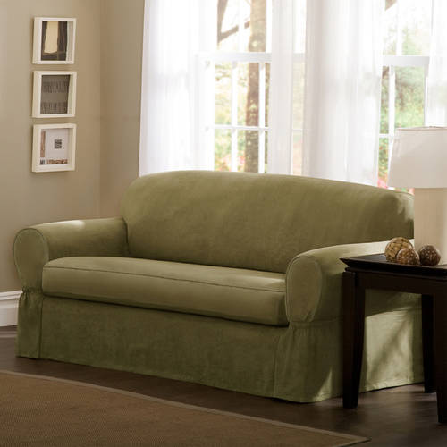 Maytex Faux Suede 2-Piece Sofa Stretch Slipcover, Green