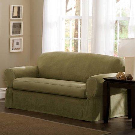 Maytex Faux Suede 2-Piece Sofa Stretch Slipcover, Green