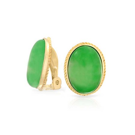 bling jewelry dyed green jade oval gold plated silver clip on (Dyed Jade Earrings)