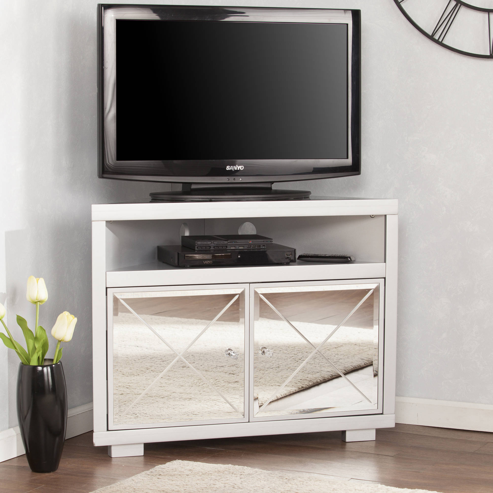 Southern Enterprises Illusions II Mirrored Corner TV Stand
