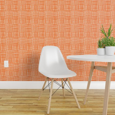 Peel and Stick Removable Wallpaper Orange Stripe Halloween Grid Painte