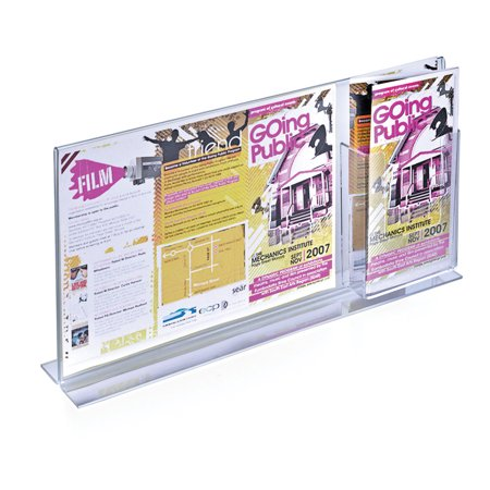 Vertical Double Sided, Stand Up Acrylic Sign Holder w/ Attached Brochure Holder (16