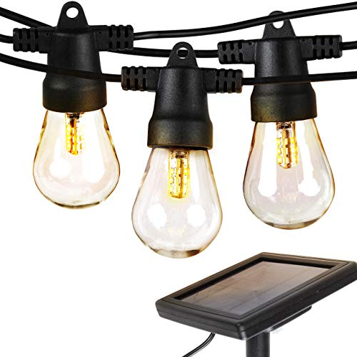 Brightech Ambience Pro   Waterproof LED Outdoor Solar String Lights    Hanging 1W Vintage Edison Bulbs