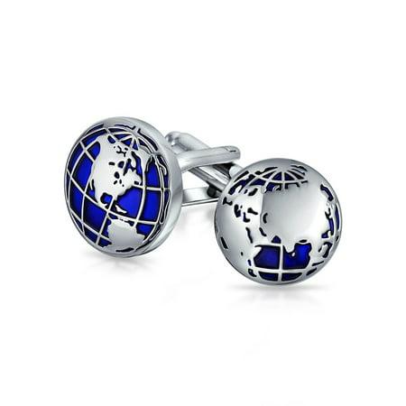 Globe World Map Blue Round Cufflinks For Men Shirt Cuff Links Hinge Back Silver Tone Brass