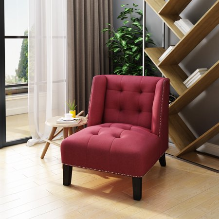 Teresa Tufted Wingback Fabric Accent Chair, Red