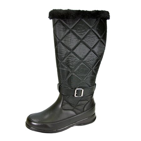 Nylon Winter Boots (PEERAGE Kendra Women Wide Width Wide Calf Knee-High Leather and Nylon Winter Boots BLACK)