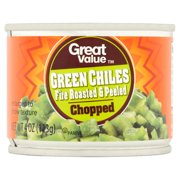 Great Value Chopped Fire Roasted & Peeled Green Chiles, 4 Oz