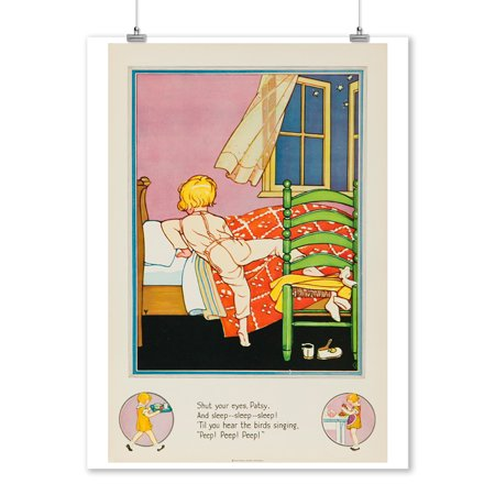 National Dairy Council: Nursery Rhymes (going to bed) Vintage Poster USA c. 1930 (9x12 Art Print, Wall Decor Travel Poster)