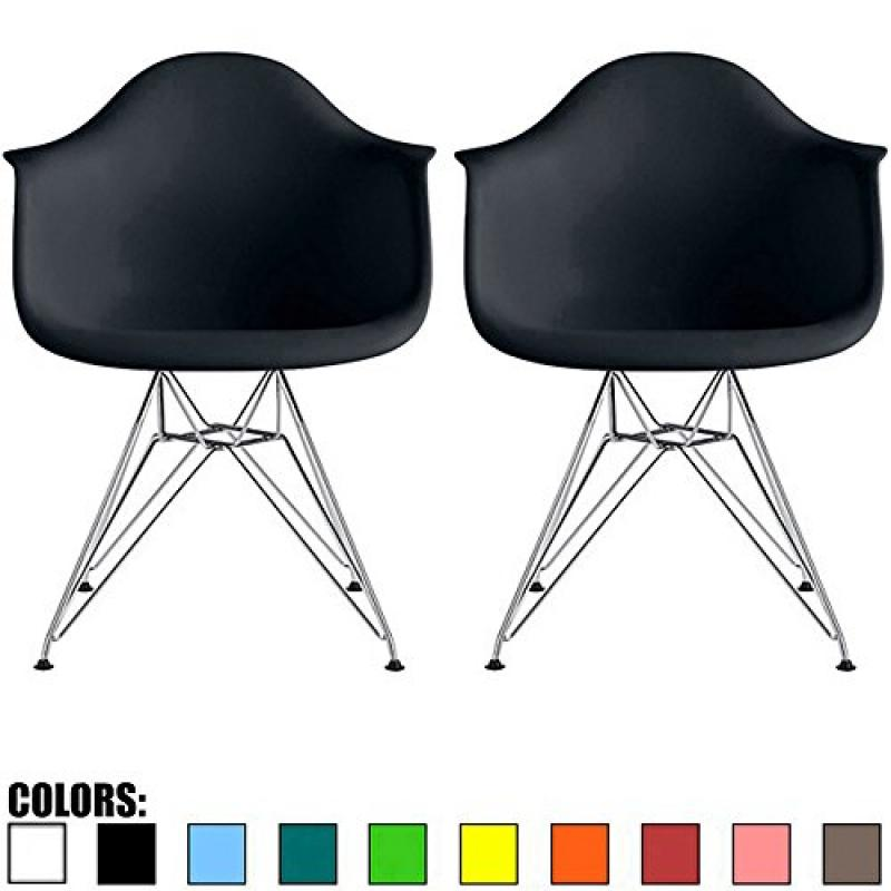 2xhome   Set Of Two (2)   Black   Plastic Armchair With Eiffel Legs