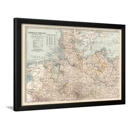 Plate 22. Map of the German Empire Framed Print Wall Art By Encyclopaedia Britannica - Plate Wall Art
