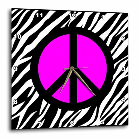 3Drose Pink Peace Sign On Zebra Background  Wall Clock  15 By 15 Inch