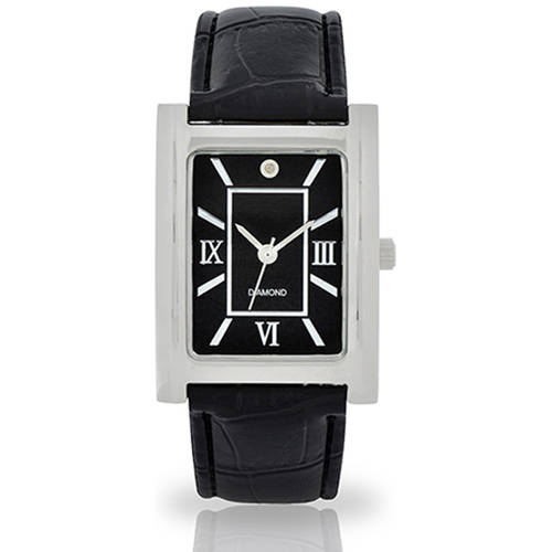 Men's Silver-Tone Diamond Dial Watch