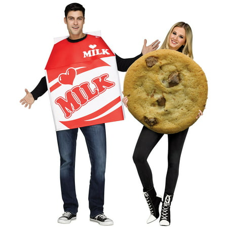 Adult Photo Real Milk & Cookies Couples Costume](Pacman Couple Costume)