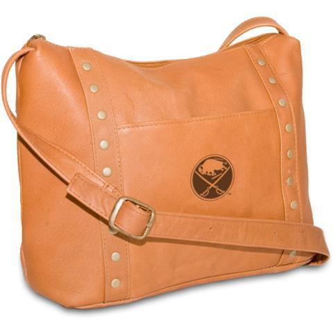 Pangea Tan Leather Women's Mini Top Zip Handbag - Buffalo Sabres Buffalo Sabres PANGHKYBUFHBT