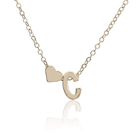 Women Fashion Simple Golden Letter Heart-shaped Necklace Initials Name Necklace Personalized Pendant (Initial Name Pendant)