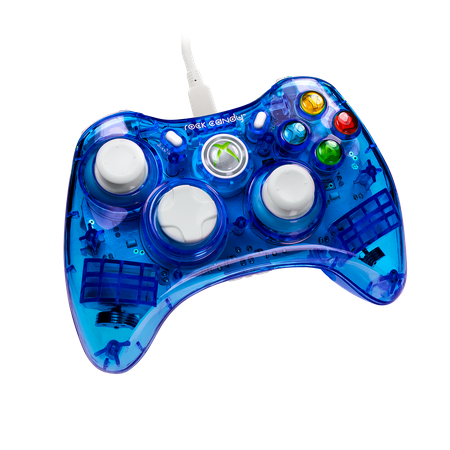 PDP Rock Candy Xbox 360 Wired Controller, Blueberry Boom, (Xbox 360 Quick Charge Kit)